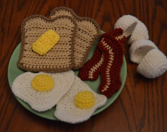 Play Food Breakfast Set - Crochet Bacon and Eggs and More - Ready to Ship