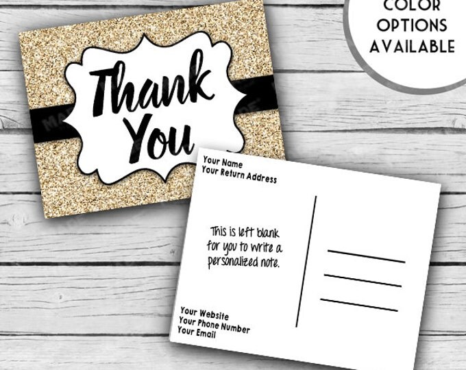 Printed Double-Sided Metallic GLITTER THANK YOU Post Card Set, Motivational Cards, Positive Inspiration, Printed Thank You Cards, Stationery
