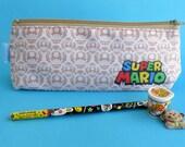 Super Mario Pencil Case Zipper Pouch Bag Pen Box School Retro Game Mushroom