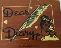 Vintage mid century cedar box dear diary Wildwood NJ souvenir key lock included