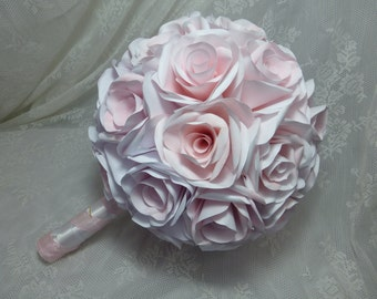 Bridal Wedding Bouquet - Handmade hand-tinted paper flowers roses - made to order (see description)
