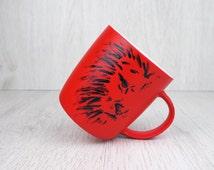 Lion Coffee Mug, Hand Painted Lion Mug, Hot Red Mug, Personalized Red Porcelain Mug, Lion Tea Mug, Africa Mug,