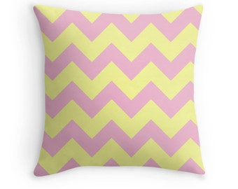 Pink Yellow Pillow, Pink Yellow Chevron, Pink Yellow Nursery, Pink Pillow, Pink Decorative Pillow, Teen Decor, Pink Throw Pillow