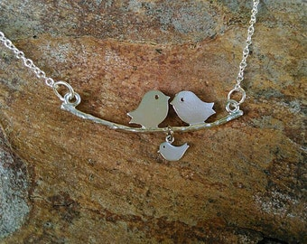 """Silver plated """"lovebirds on a branch"""" necklace"""