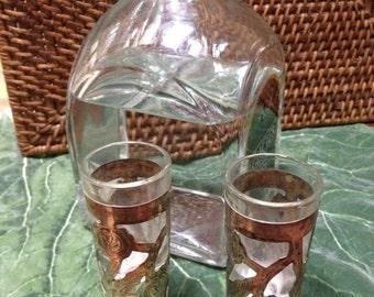 Sterling overlay pair of shot glasses