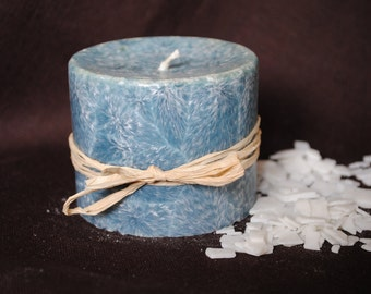 Palm Wax Pillar Candle - Xmas, Christmas Table Centre Piece - Pillar, Tower Candle, Gothic, Scary - Light Blue Colour
