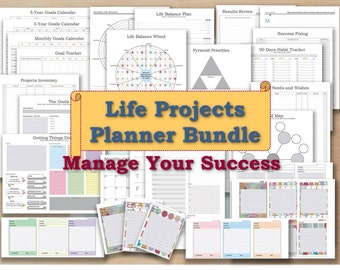 Project planner life organizer kit and cards plan template management agile goal planning setting digger journal GTD _ Any Re-size is FREE