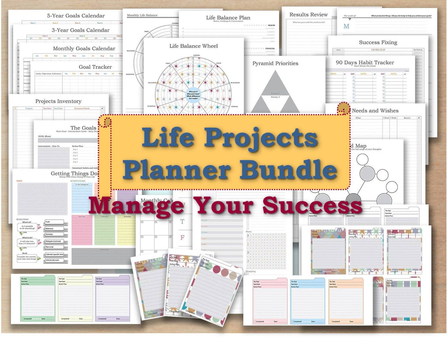 Project planner life organizer kit and cards plan template for Designer planners