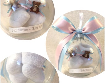 Pregnancy Reveal to Grandparents Personalized Keepsake Ornament with Floating Baby Booties - Baby Animals