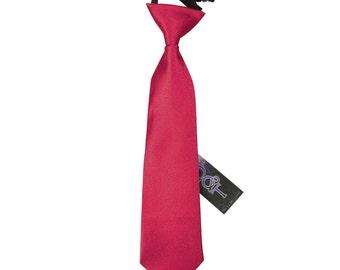 Satin Crimson Red Boy's Pre-Tied Tie