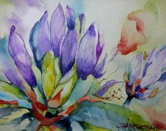 Purple Passion Watercolor, original watercolor, purple flower,
