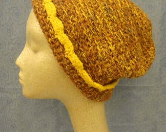 Hand made knitting stitch warm woolen hat, size large.