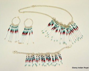 White Multi-Colored Necklace, Earrings and Bracelet Set