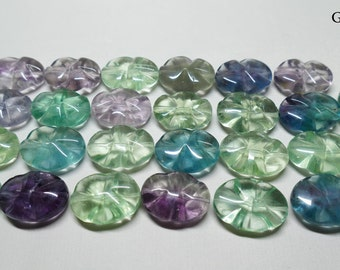 Colourful Carved and Drilled Fluorite 'Leaf' Beads