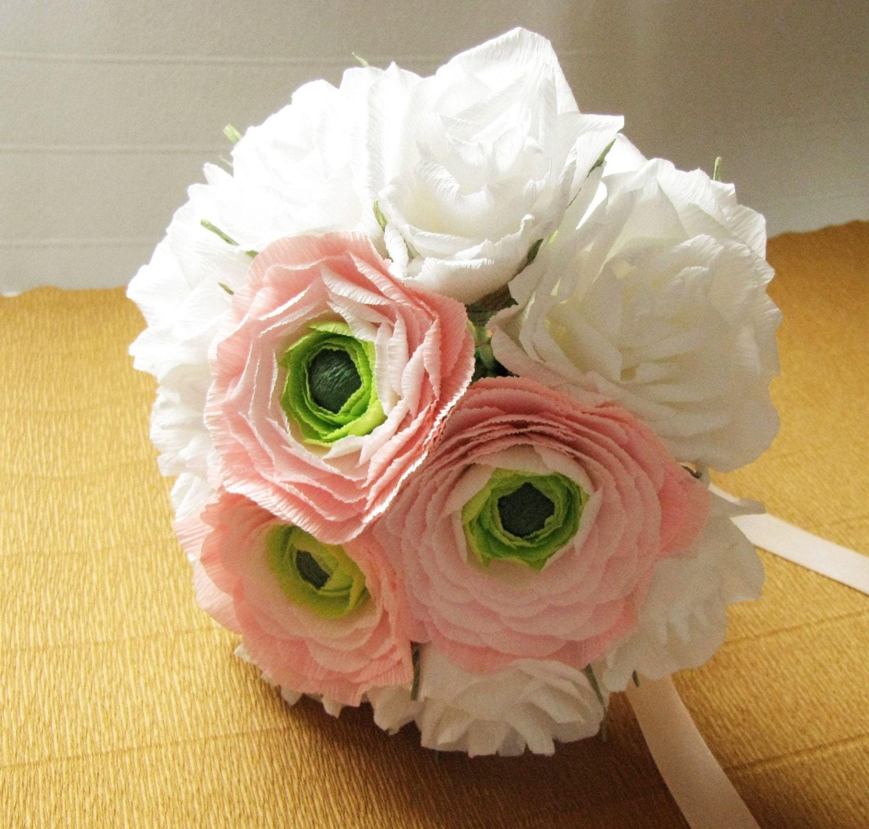 Wedding Paper Bouquet White Roses Bouquet Bridal Bouquet