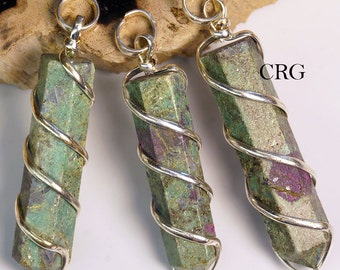 Ruby Zoisite Point Pendant In Silver Spiral (PP9DG)