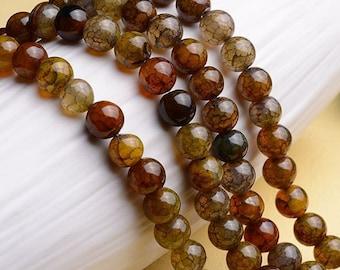 Semi Precious Beads Natural Original Agate Semi Precious stone Beads, 4 6 8 10 12 14mm Full Strand Agate Beads E65