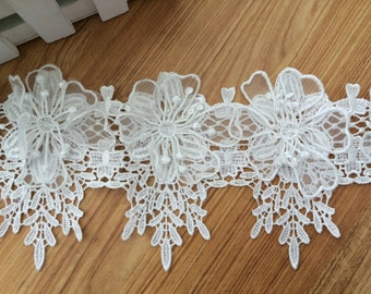 White 3D Venice lace Trim Exquisite Rose Flower Embroidered  Floral Lace 4.33 Inches Wide 1 Yard YL291
