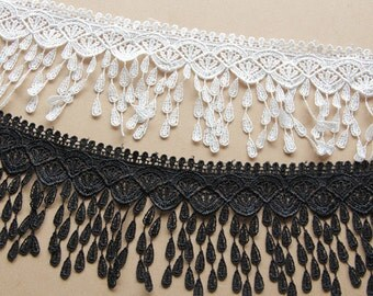 Fabulous  Venice lace Floral Embroidery Teardrop Tassel Lace Trim 3.14 Inches Wide 2 Yards YL325