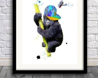 Gorilla print, gorilla art, gorilla painting,Nursery Art,Children,King Kong Junior, Pic no 109.
