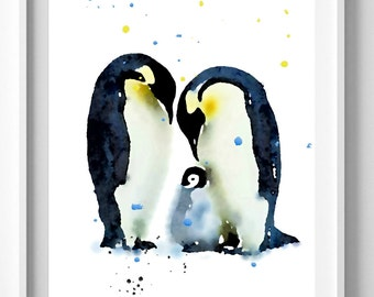 Penguin Print,from Original Watercolor Painting, Nursery Art Valentines Day [No 124]