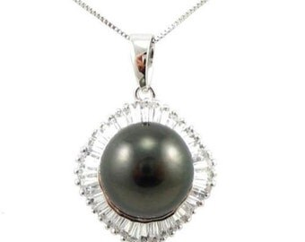 10-11mm Authentic Tahitian Black Pearl Pendant in 925 Sterling Silver SFP10851STA