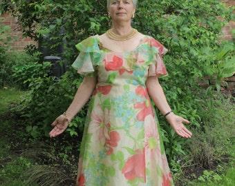 Sale! Botanical Print Summer Vintage Maxi Dress/Polyester/Multicoloured/Lined/Short Sleeves/Long Back Zip/Size18
