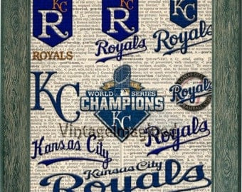 Kansas City Royals Logo history dictionary art print on upcycled vintage dictionary page 8x10, Royals art. KC Royals logo, KC Royals decor