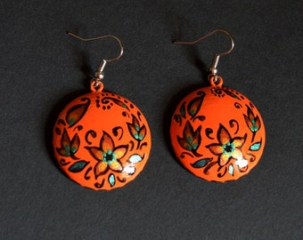 boho Orange earrings gift|for|her birthday gift summer earrings handmade orange wedding ethnic jewelry Casual earrings handpainted jewelry