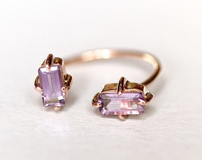 Amethyst gold open ring Rose Gold ring Purple stone ring Natural stone ring Gold Engagement Ring Womens ring Delicate jewelry