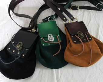 Suede Leather Shoulder Strap Pouch