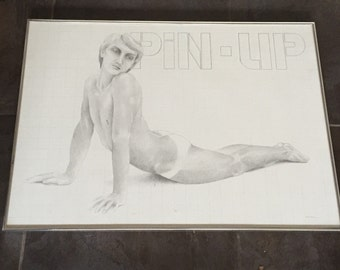 Pin Up' by Ralph Hedley Original Framed Drawing - Model was secretary to Tennesee Williams
