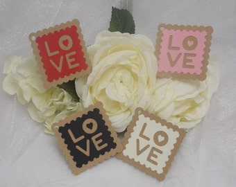4 Small Handmade 'LOVE' Gift/Valentine Tags
