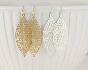 """Silver or Gold teardrop  filigree cut out medallion dangle drop scroll earrings french hook 2.5"""" long lightweight dainty"""