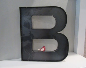 24 inch Metal Letter B-Industrial Metal Wall or Standing Letters A to Z Available-Block Font Letter-Wedding Letters-Rustic Farmhouse Letters