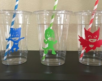 Pj mask birthday cups, pjmask party, pj mask party cups
