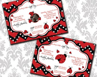 Little LadyBug Baby Shower DIGITAL invitation, 5x7
