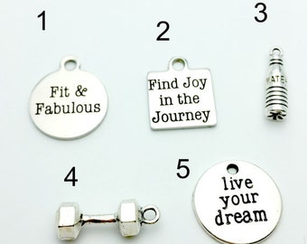 5 CHARMS for Bariatric, Fitness, Health Bracelets