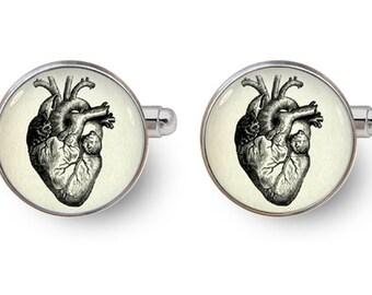 anatomic heart cufflinks heart cufflinks wedding cufflinks -with gift box
