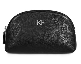 Leather Cosmetic Bag, Genuine Black Leather Pouch, Leather Makeup Case, Make Up Leather Toiletry Bag, Black Cosmetic Bag Pouch  KF-606