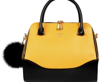 Leather Top Handle Bag, Yellow Leather Handbag Top Handle, Women's Leather Bag KF-799