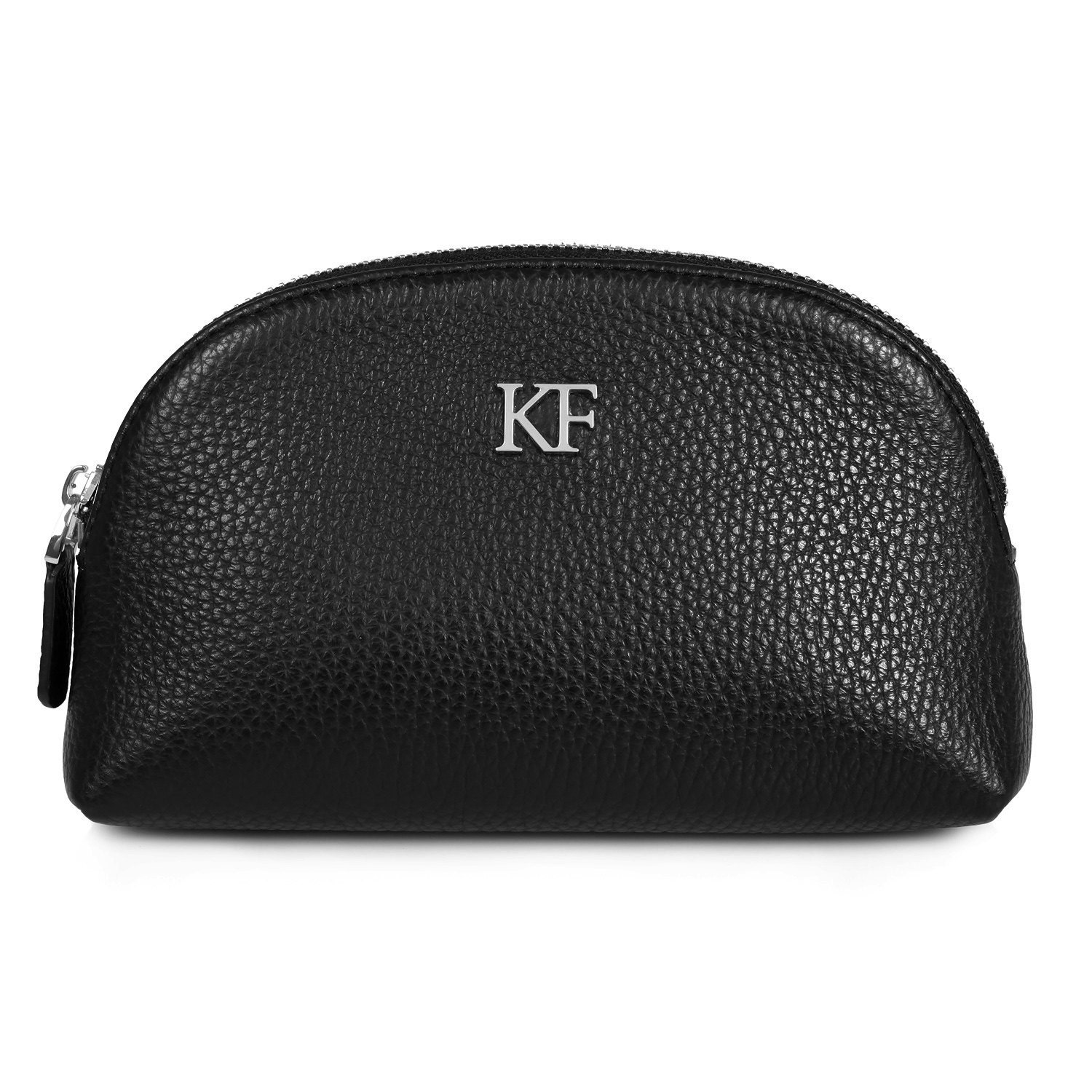 Leather Cosmetic Bag Genuine Black Leather Pouch Leather