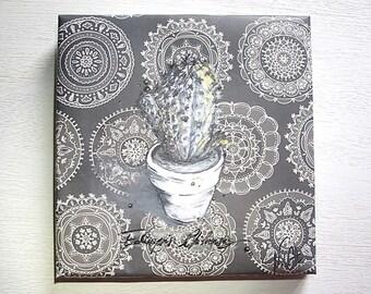 Cactus 'Echinopsis Chiloensis' Bohemian style canvas painting