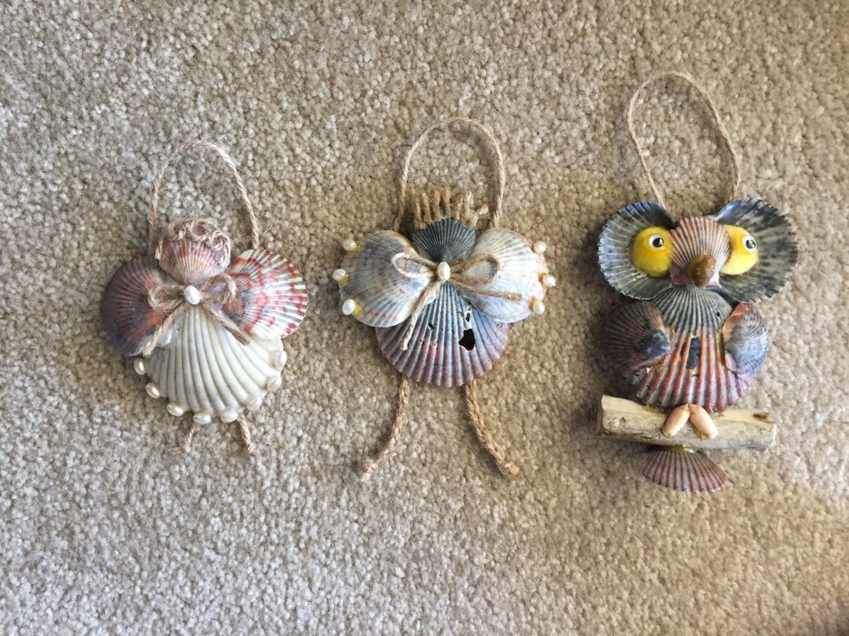 Seashell christmas ornaments - Sea Shell Christmas Ornaments Angel Seashell Decoration Beach Ornaments Coastal Holiday Decor Sea Shell Angel
