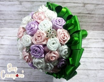 "Alternative bouquet ""Roses and shimmers"" with white, pink and lilac satin roses and decorative pins"