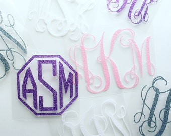 Glitter Monogram Decal, 41 Color Options, Adhesive Glitter Monogram, Glitter Monogram Sticker, Monogram Decal, Glitter Adhesive Vinyl