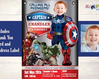 Captain America Birthday Invitation. Your kid as Captain America in his own Avengers Birthday Invitation. Avengers Birthday Invitation.