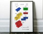 Lego Print, Patent Print, Lego Patent Art, Lego Decor, Patents, Art For Kids Room, Nursery Art Print Lego Art Boys Room Print Lego Block