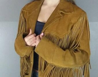 Vintage Fringe Suede Leather Jacket by Trego's Westwear 1960s 70s