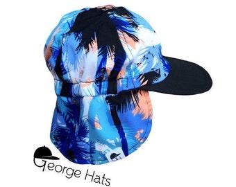 Baby, Toddler & Kids Sun Hat / Kids Swim Hat / Childrens Sun Hat / BLUE PALM